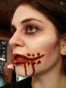 sfx makeup, special effects make up, horror, gore, trauma, wounds, prosthetic, latex, stitches, laceration, blood