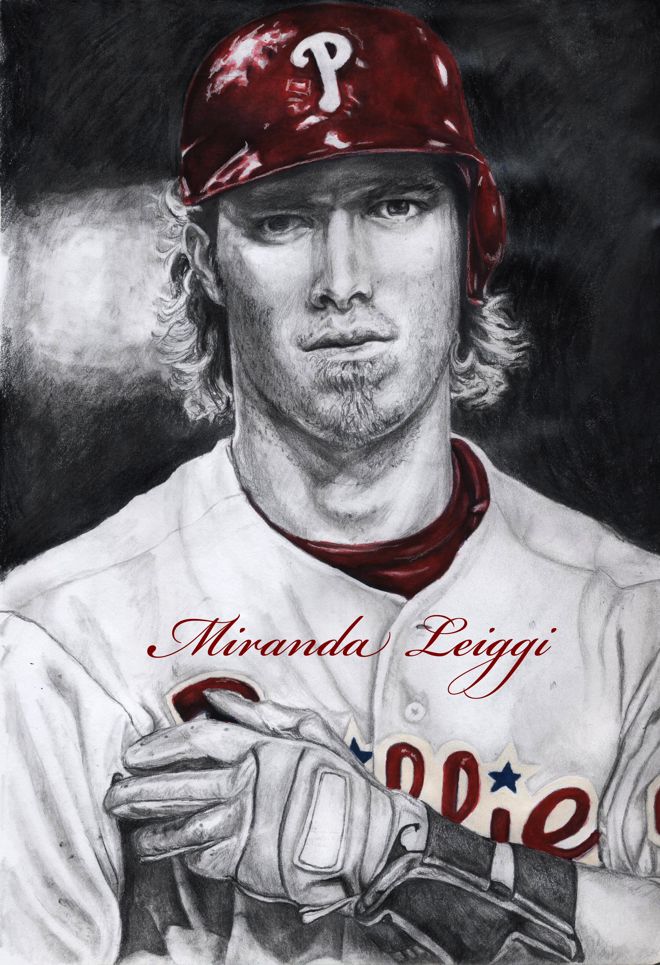 Philadelphia Phillies, portrait, baseball player, baseball, black and white, red