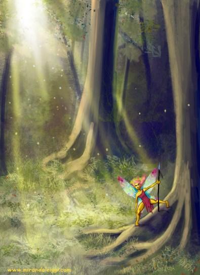 fearie, faerie, fairy, fairey, faerie, wood, woods, forest, trees, sunlight, dappled light, dust, female, warrior, magic, fantasy, SF&F, digital art