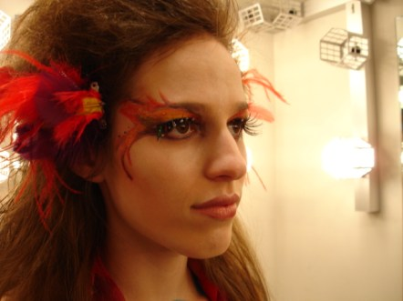 fire sprite, the tempest, Shakespeare, faerie, fae, fake eyelashes, theatrical makeup