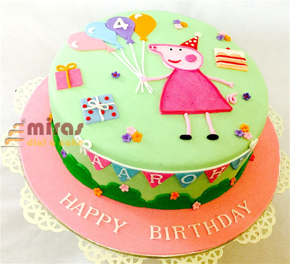 Miras Online Peppa Pig Theme Birthday Cakes For Kids I Order Online For Bangalore Delivery