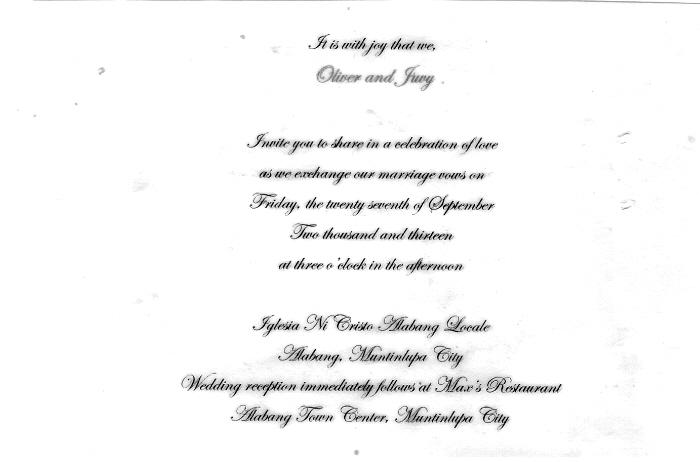 Sle Wedding Invitation Iglesia Ni Cristo