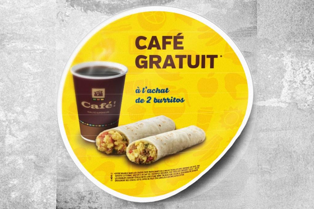 Autocollant Couche Tard cafe gratuit
