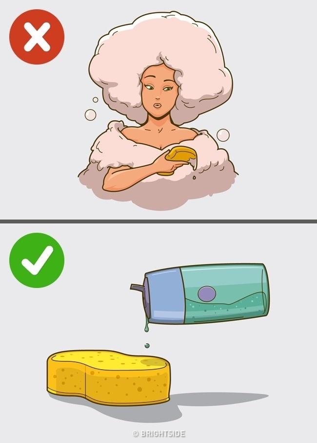 Používáme hodně sprchový gel a tekuté mýdlo, abychom měli více pěny.