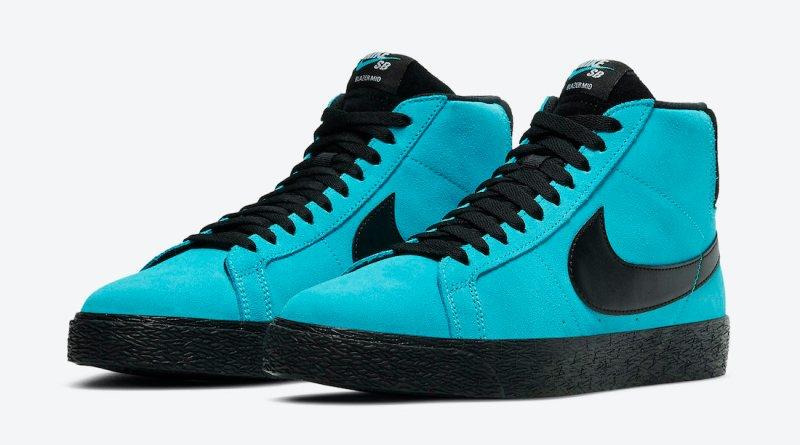 Pánské modré tenisky Nike SB Blazer Mid Baltic Blue/Black-White 864349-400 semišové a vysoké kotníkové boty a obuv Nike
