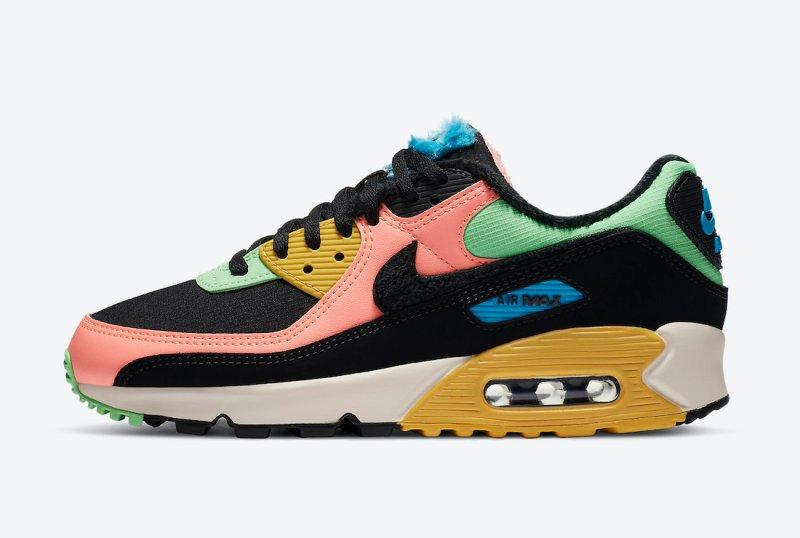 Pánské barevné tenisky a boty Nike Air Max 90 Black/White-Multi Color CT1891-600 nízké botasky a obuv Nike Air Max