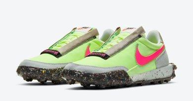 Dámské zelené tenisky a boty Nike Waffle Racer Crater WMNS Barely Volt/Pink Blast-Black CT1983-700 nízké sportovní botasky a obuv