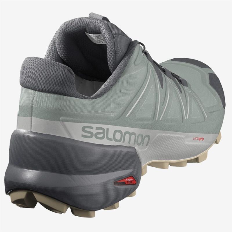 Pánské zelené šedé tenisky a boty Salomon Speedcross 5 Green Milieu/Ebony/Pale Khaki 411164 běžecké botasky a obuv Salomon