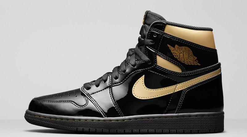 Pánské černé tenisky Air Jordan 1 High OG Black/Black-Metallic Gold 555088-032 kožené a vysoké kotníkové boty a obuv Jordan