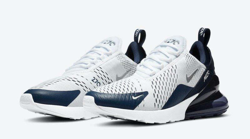 Pánské bílé modré tenisky a boty Nike Air Max 270 White/Midnight Navy-Metallic Silver DH0613-100 nízké botasky a obuv Nike