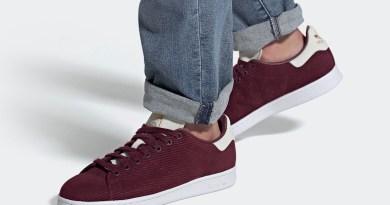 Pánské vínové tenisky a boty adidas Stan Smith Maroon/Footwear White-Gold Metallic FU9616 manšestrové nízké botasky a obuv adidas