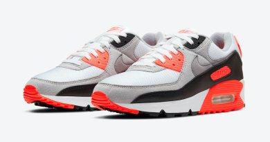 Pánské bílé šedé tenisky a boty Nike Air Max 90 OG Infrared White/Black-Cool Grey-Radiant Red CT1685-100 nízké botasky a obuv Nike