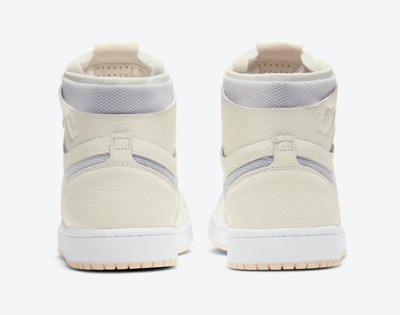 Pánské bílé krémové tenisky Air Jordan 1 Zoom Comfort Sail/Pearl White-White-LT Voltage Yellow II CT0979-107 kožené kotníkové boty a obuv