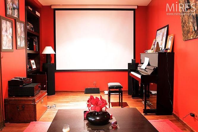 Petit Salon Rouge Et Piano Dtude C0149 Mires Paris