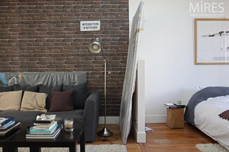 Chambre Salon Avec Un Mur De Briques Brunes C0643 Mires