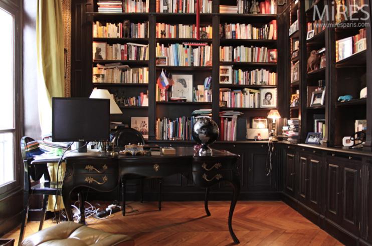 Un Bureau Bibliothque Noir C0733 Mires Paris