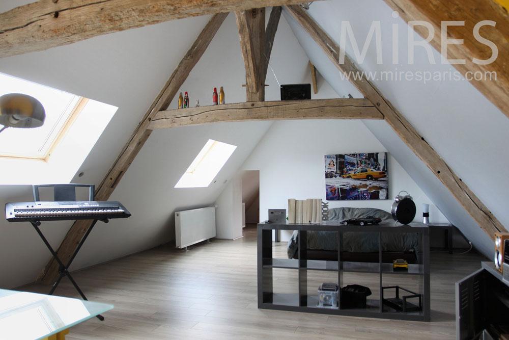 Chambre Avec Un Bureau Sous Les Combles C0787 Mires Paris