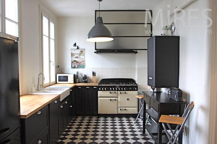 Cuisine Noire Et Damier Blanc C1114 Mires Paris