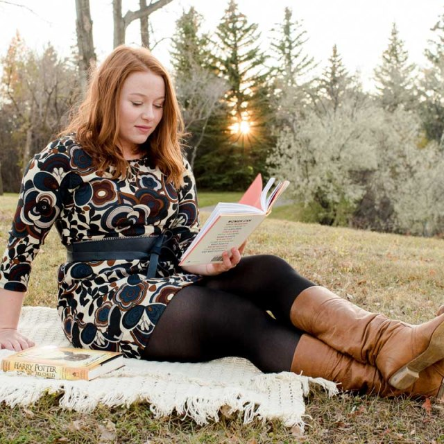 Graduate Student Reads Book Sunset