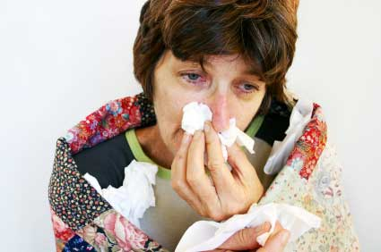 mother suffering from cold