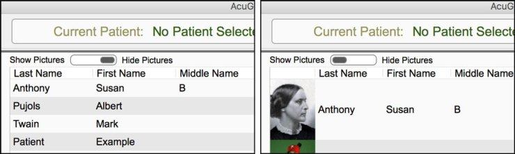 Turn on Patient Pictures in AcuGraph