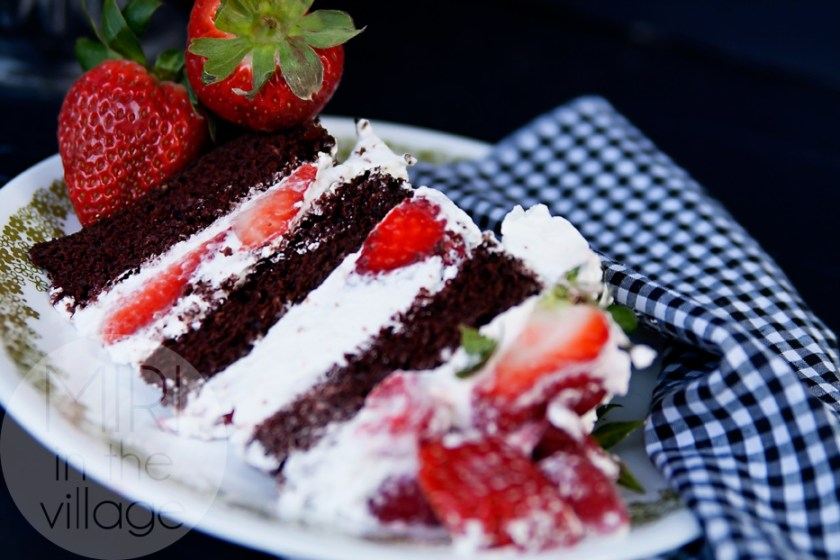 Guinness Chocolate Cake with Berries & Cream