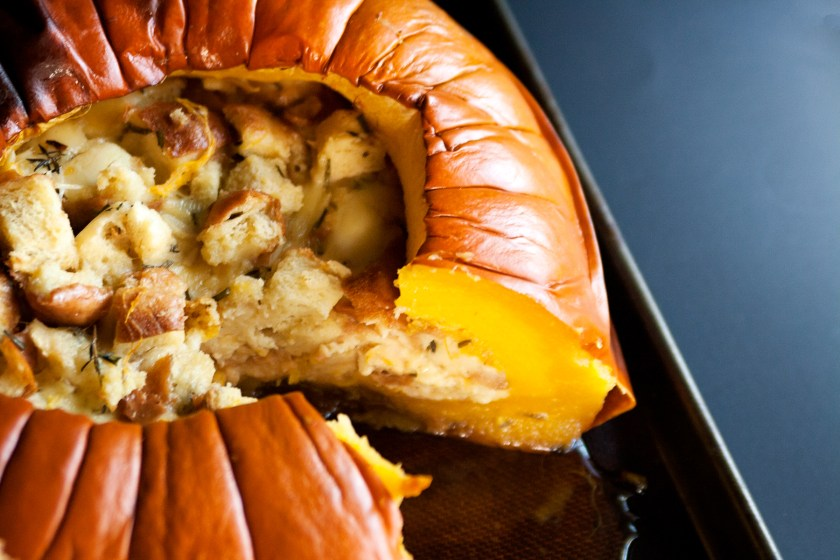 Savory Bread Pudding Baked in a Pumpkin