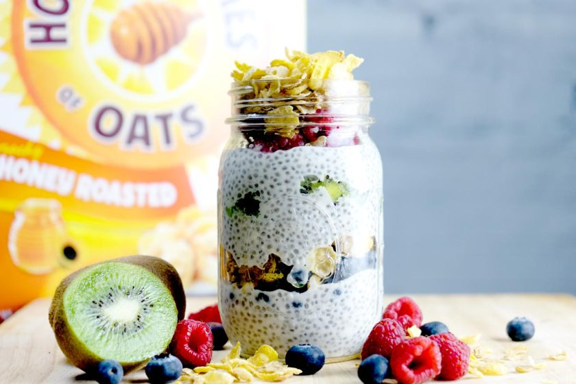 Chia Pudding with Honey Bunches of Oats