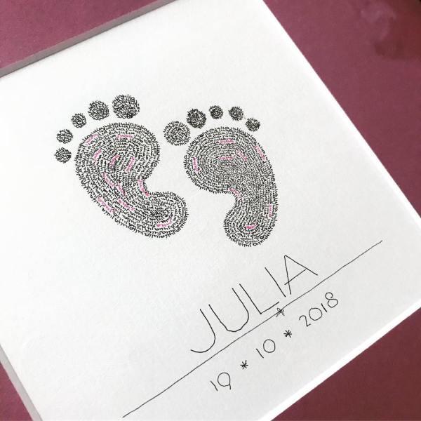calligram, babyfeet, pink, baby, newborn, present, born, framed, passepartout, grandchild, todler, unique, handmade, art