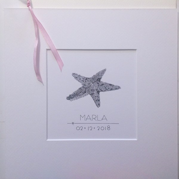 calligram, starfish, handwritten, present, gift, words, baby, newborn, present, born, framed, passepartout, grandchild, todler, unique, handmade, art