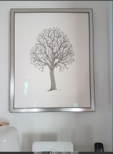 Walldecoration, familytree, pedigree, tree, words, writing, pen, framed, archival ink, paper, calligram, branches, trunk