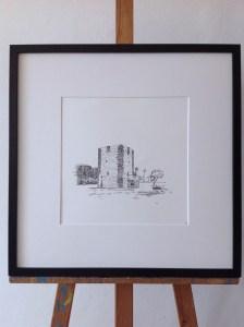 Torre del Conde, architecture, landscape, park, frame, passepartout, white, black, easel, walldecoration