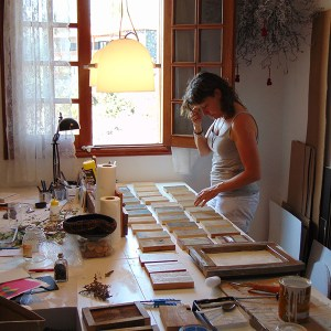 workshop atelier, table, art, material, work, paper, wood, pen, ink, frame