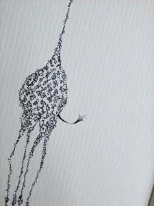 Close-up of a calligram of a giraffe