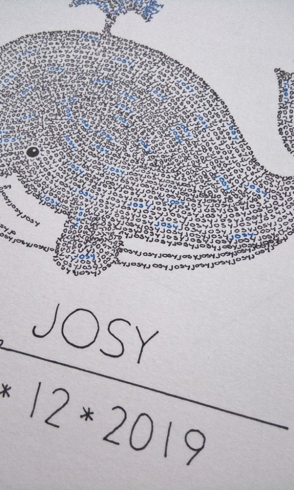detailed photo calligram whale
