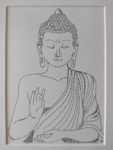 Calligram Buddha, words written in black