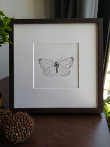 presentation framed calligram of a Butterfly