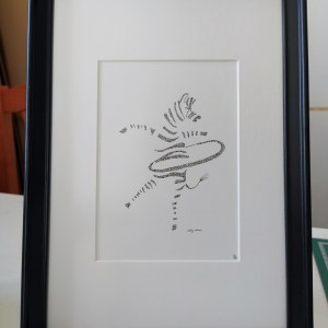 Calligram of a Zebra, framed.