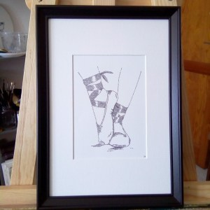 framed calligram ballet shoes
