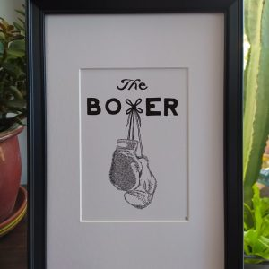 boxing gloves, framed, names