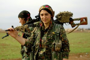Female soldiers in Rojava.