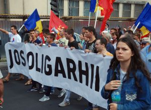 Protestors in Chisinau demanding an end to nepotism and corruption.