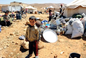 A Syrian refugee child, at the border town of Arsal, in the eastern Bekaa Valley