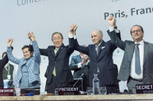 Secretary-General Ban Ki-moon (second left); Christiana Figueres (left), Executive Secretary of the UN Framework Convention on Climate Change (UNFCCC); Laurent Fabius (second right), Minister for Foreign Affairs of France and President of the UN Climate Change Conference in Paris (COP21) and François Hollande (right), President of France celebrate after the historic adoption of Paris Agreement on climate change.