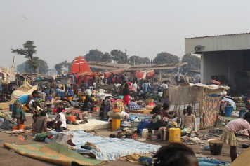Internally displaced people take refuge at Bangui airport in the Central African Republic.