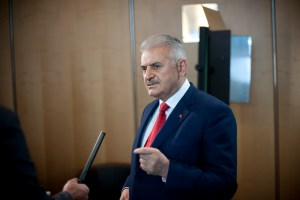 "Turkey's Minister of Transport, Maritime Affairs and Communications, Binali Yildirim, answers questions from ITF Media Team members at the 2013 Summit on ""Funding Transport"" of the International Transport Forum at the OECD in Leipzig, Germany on 23 May 2013"