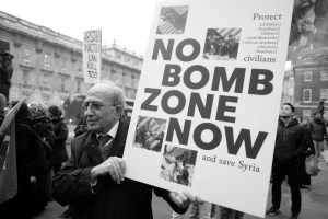 Man protesting against the deliberate targeting of civilians in Aleppo, December 2016. https://flic.kr/p/QjEUPe