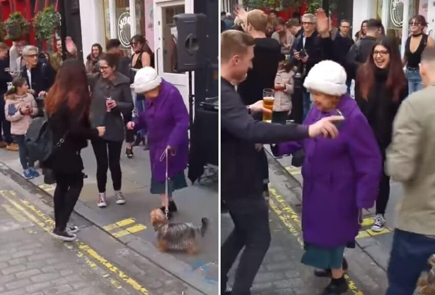 [VIDEO] Starija dama krenula u šetnju s psom pa zaplesala s mladima nasred ulice