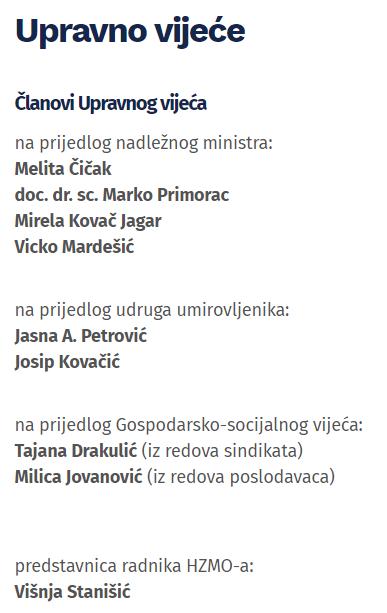 upravno vijeće HZMO