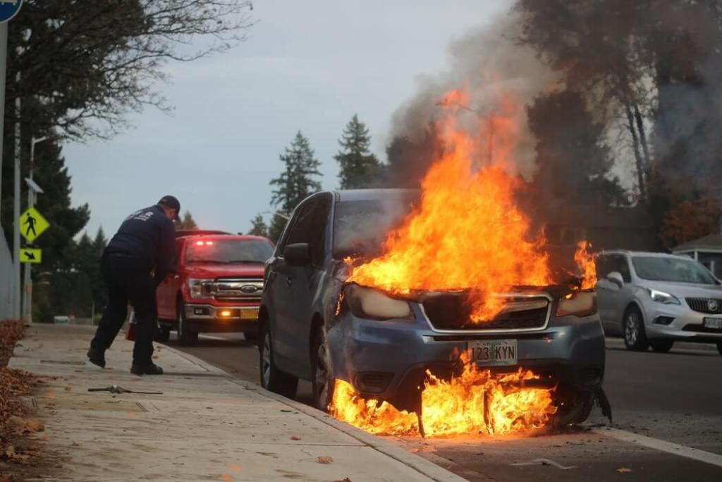 automobil gori